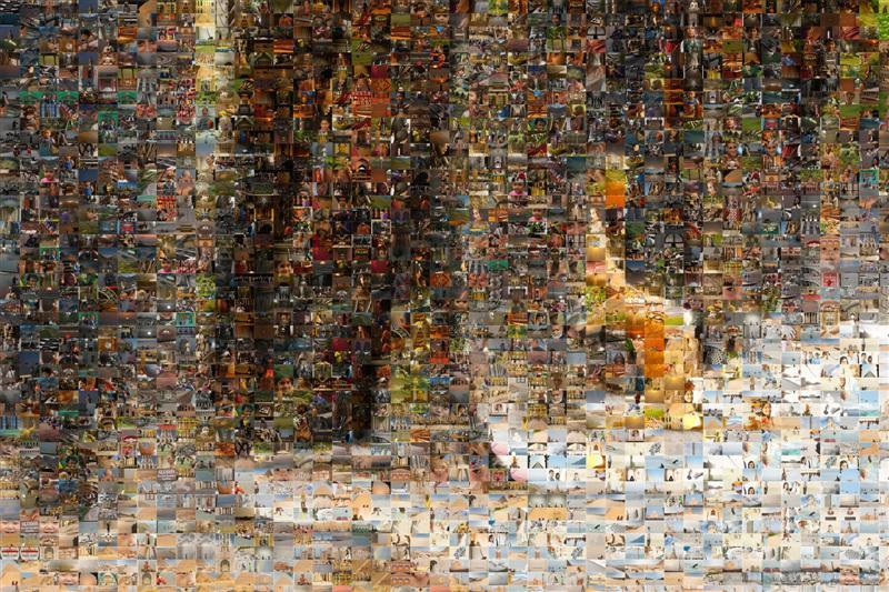 Parisian Street Performer Mummy Sitting Mosaic - Many Places, Around The World - Daily Travel Photos