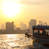 River Boat Chao Phraya Photo: A Chao Phraya river boat taxi plies the water in the early morning.