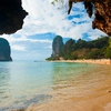 Phranang Beach Railay Photo: Karst formations seen from the mouth of a cave at Phranang beach in Railay.