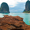 Railay Cliff & Beach Photo: The cliff-jump area overlooking Phranang beach in Railay.