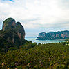 Railay Beach Viewpoint Photo: An aerial view of Railay East (foreground) and Railay West (background) beaches from the mountain viewpoint.