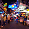 Center Khao San Road (Panorama) Photo: User-controlled panorama, midway, down chaotic Khao San Road, the de-facto headquarters of Thai tourism.