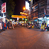 Khao San Road (Panorama) Photo: Interconnected user-controlled panoramas of the extreme ends and center of Bangkok travelers' hub, Khao San Road.