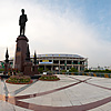Rama VIII Bridge Park (Panorama) Photo: A user-controlled panorama of the park at the Rama VIII bridge which spans the Chao Phraya river in Bangkok, nearby Kao San Road.