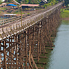 Saphan Mon Bridge Photo: Thailand's longest wooden bridge, the manually constructed Saphan Mon near the Myanmar border in Sangkhlaburi.