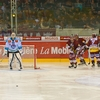 Go-Ahead Goal Photo: The second goal of the game is scored by Geneva's Wild Eagles at a Swiss ice hockey game.