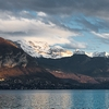 Snow Summit Photo: Beautiful snow-capped French Alps' mountains near Annecy Lake in France.